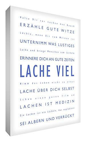 Little Helper LM128–04rg Feel Good Art Décoration murale toile le rire Typographie moderne, 30 x 20 CM, bleu avec blanc