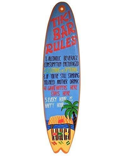 qidushop All Seas Imports Einzigartiges handgeschnitztes und bemaltes Holz Tiki Bar Rules Surfbrett Sprüche Home Decor Wandbild Geschenk -