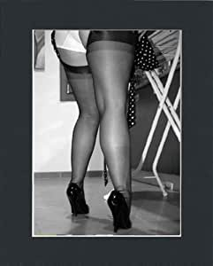 RETRO GLAMOUR VINTAGE UPSKIRT PANTIES AND NYLON STOCKINGS LEGS PIN UP PHOTO PRINT IN MOUNT by Unknown
