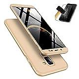 Laixin 3 in 1 Handyhülle für Samsung Galaxy J6 2018 Hülle + Panzerglas, Ultra Dünn PC Plastik Anti-Kratzen Schutzhülle Schutz Case Cover mit Displayschutzfolie, Gold