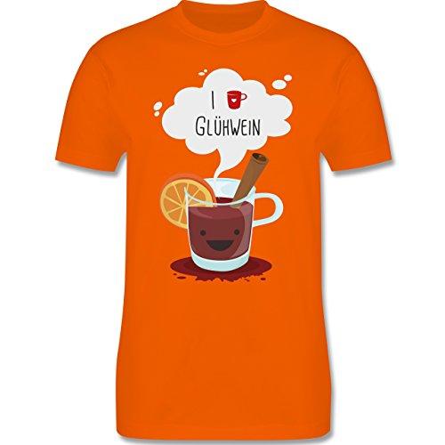 Weihnachten & Silvester - I love Glühwein glückliche Tasse - Herren Premium T-Shirt Orange