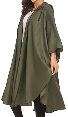 Damen Mantel Regenjacke Regenponcho Polka Dots Radjacke Raincoat Outdoorjacke mit Kapuze Outdoor Wasserdicht Grün