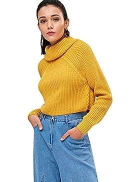 PASSOSIE Suéter Mujer de Cuello Alto Sueter Básico Corto Jersey de Punto para Invierno Otoño Jerséis Suelto de...