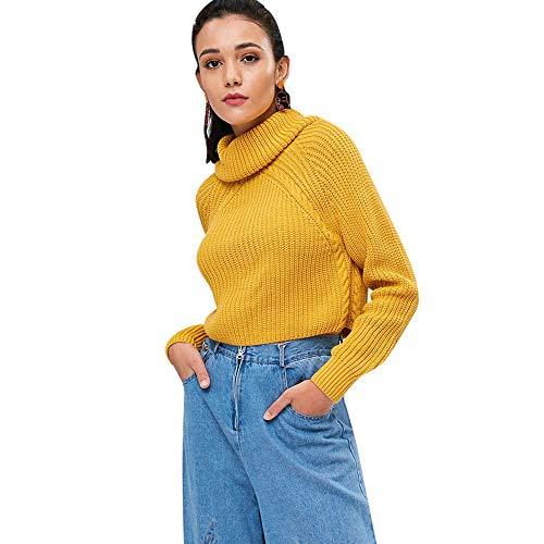 Maglione corto maglia girocollo 2018 elegante maglieria collo altomanica raglan pullover inverno autunno casual 2018 moda cappotto giallo viola