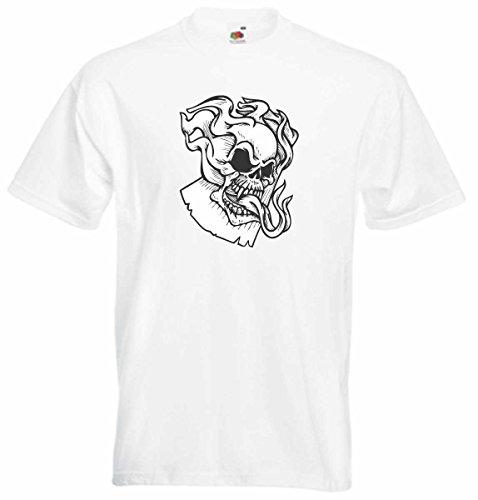 T-Shirt D594 T-Shirt Herren schwarz mit farbigem Brustaufdruck - Design Tribal Comic / abstrakte Grafik / Totenkopf Schädel mit Schlangenzunge und Flammen Mehrfarbig
