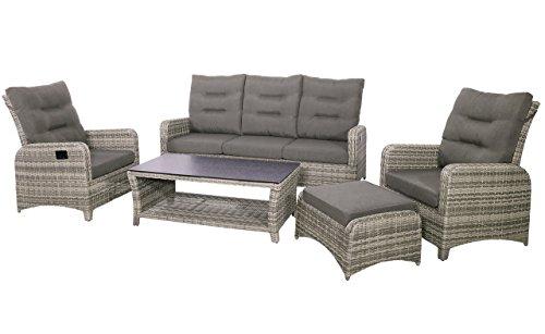 4-teiliges Lounge-Set, Loungeset, Loungemöbel, Gartenloungemöbel, Loungebank, Loungetisch, Loungesofa, Aluminium, Polyrattan, greige, grau, braun