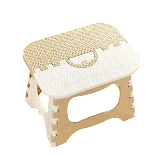 Crylee Mehrzweck-Stufenhocker, zusammenklappbar, robust, belastbar mit Korbdruck, für Haushalt, kleine handliche Tritthocker, tragbar, zusammenklappbar, für Küche, Badezimmer, Kinder, beige, 25x19cm -