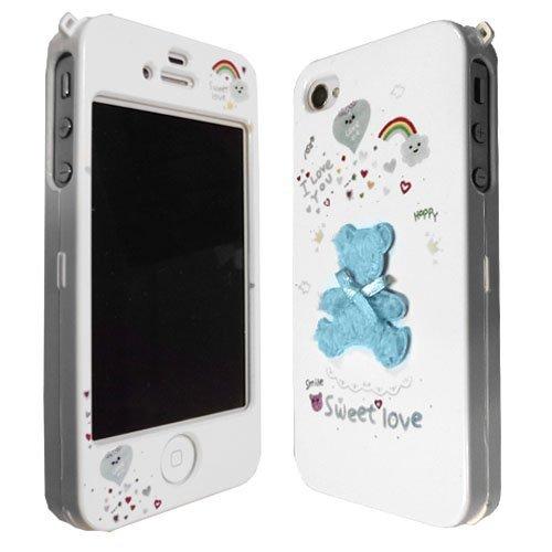 JAMMYLIZARD | Coque iPhone 4s - Coque iPhone 4 back cover ridige original papillons fleurs argenté, Blanc & argent BLEU