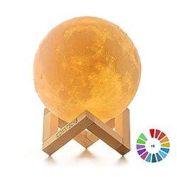ICONNTECHS IT Mond Lampe 3D-gedruckte Helligkeit dimmbar Mondlicht 16 RGB Farben USB wiederaufladbare Fernbedienung & Touch-Steuerung Nachttischlampe Damengeschenk Nachtlicht für Kinderzimmer 15 cm, L