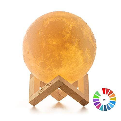 Lámpara Luna 3D, ICONNTECHS Brillo Regulable 16 Colores RGB Recargable USB Control...