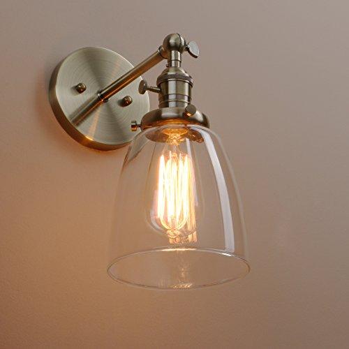Klares Glas Glocke (Pathson Antik Deko Design Kleine Glocke Klar Glas innen Wandbeleuchtung Wandleuchten Loft-Wandlampen Wandbeleuchtung (Bronze Farbe))