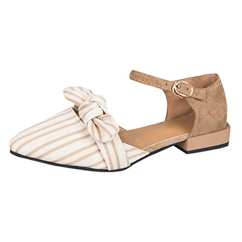 Preisvergleich Produktbild Yvelands Damen Spitzen Zehenstreifen Schuhe flach quadratische Ferse Schnalle Strap Casual Sandalen(CN-35, Beige)