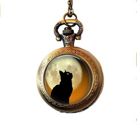 chwarzer Katze und Mond, Halloween, Katzen-Schmuck, Schwarz ()