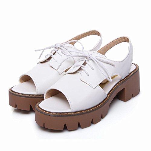 Mee Shoes Damen chunky heels Quaste Plateau Sandalen Weiß
