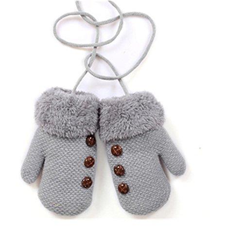 Moolecole Kreative Warme Handschuhe Baby Mädchen Kleinkind Kind Gestrickte Fäustlinge grau