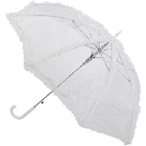 Remedios encaje de la boda Paraguas con volados y apliques, blanco