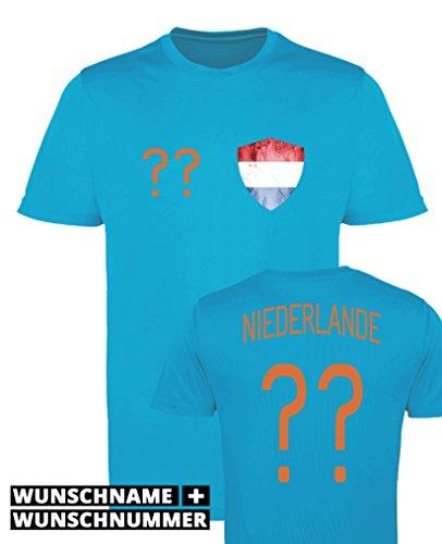 Comedy Shirts - Niederlande Trikot - Wappen: Klein - Wunsch - Herren Trikot - Orange/Royalblau Gr. L