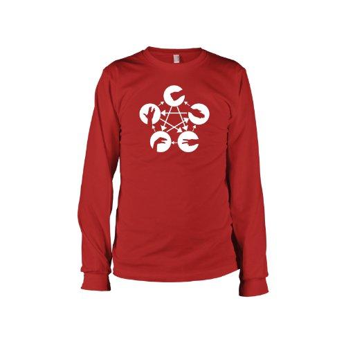 TEXLAB - TBBT: Stein Schere Papier Echse Spock - Langarm T-Shirt Rot