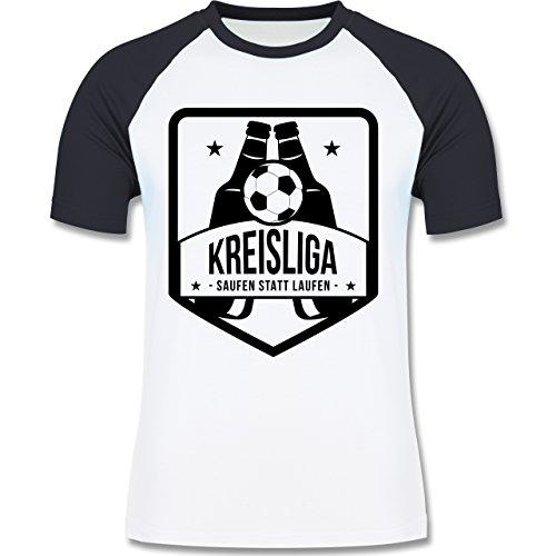 Fußball - Kreisliga - Saufen statt laufen - zweifarbiges Baseballshirt für Männer  Weiß/Navy Blau