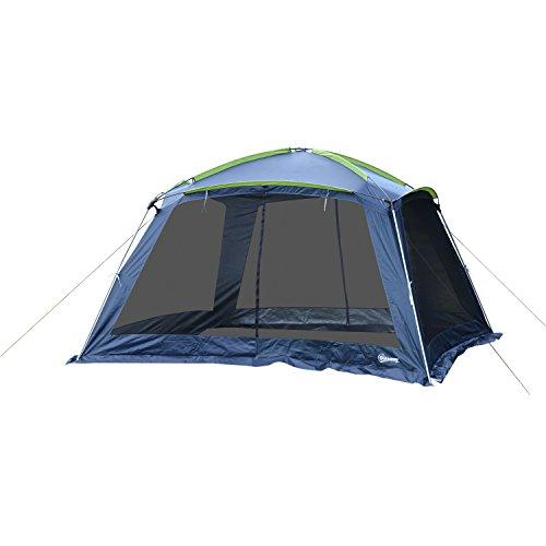 Outsunny Campingzelt Kuppelzelt Zelt für 5-8 Personen inkl. Tragetasche, Oxford+Kunststoff, Dunkelblau, 360x355x215cm