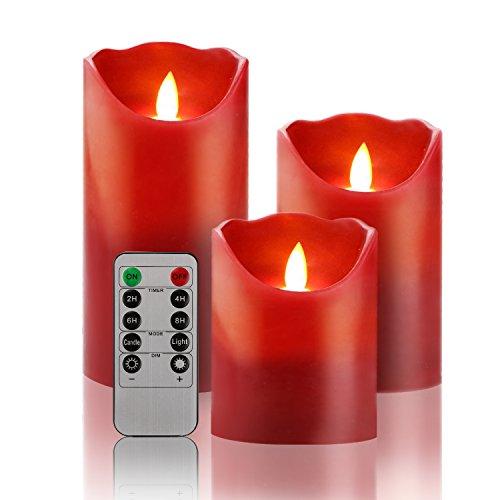Set von 3LED Flammenlose Kerze 10,2cm 12,7cm 15,2cm Burgund Farbe Tropffreie echtem Wachs Säulen enthalten Realistische Tanzende LED-Flammen und 10-key Fernbedienung mit 24h-Timerfunktion (Burgund Flammenlose Kerzen)