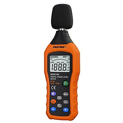 Sonómetro, Protmex MS6708 Sonómetro Digital, Medidor de Nivel de Decibelios (30   130dB), Registrador de Decibelios 30 hz 8khz nosie metros probador medidor con Fast/Slow Selection, sujeción de datos