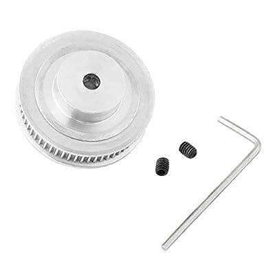 Walfront Schrittmotor 60 Zahn 5mm Bohrung Aluminium GT2 Zahnriemen Riemenscheiben + 1pc Schraubenschlüssel + 2 Stück Schrauben Für 3D Drucker