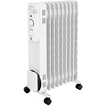 e3d2eb5de45 Jack Stonehouse 9 Fin 2KW Portable Electric Oil Filled Radiator Heater in  White - 3 Heat Settings + Safety Tip Over Switch + Adjustable Thermostat +  ...