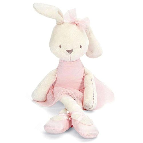 Preisvergleich Produktbild Niedlicher Plüsch-Hase mit Rock, Schuhe und Schleife - extra flauschige Baumwolle - Weiß mit Rosa - zum Knuddeln für kleine und große Menschen