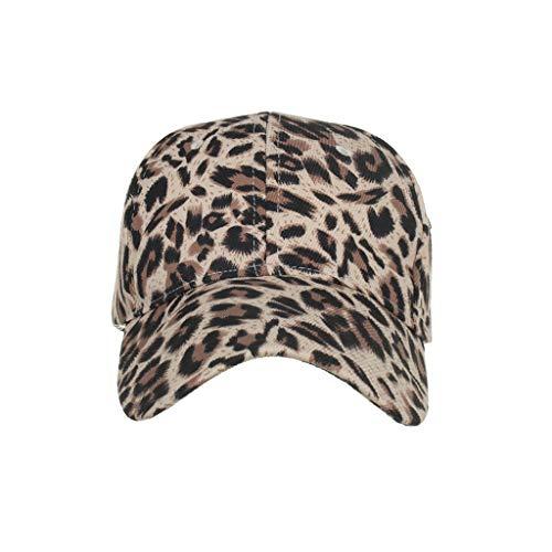 CANDLLY Hut Damen, Deckel Kopfbedeckung Zubehör Unisex Klassisch Baumwolle Leopard Baseballmütze Sonnenhut Verstellbare Kappen Kopfschmuck Cap(Khaki,One size)