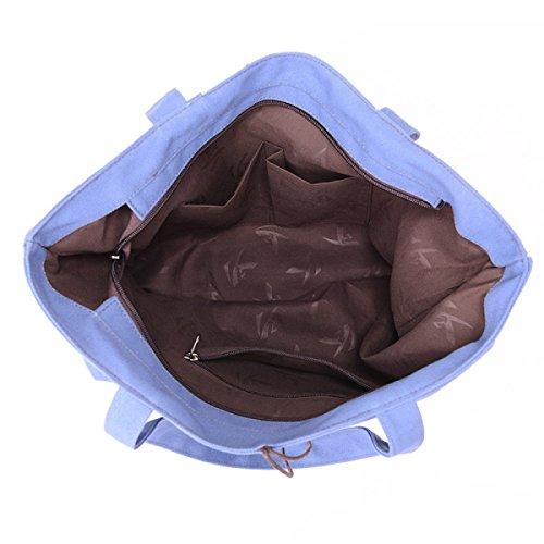 Tote Di Tela Delle Donne Sacchetto Di Spalla Di Colpo Borsa Di Cotone Lady Bag Di Grande Capacità Blue