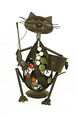 Figura Decorativa de Forja con Macetero 'Gato'. Decoración Jardín. Adornos y Esculturas. 24 x 18 x 38 cm.