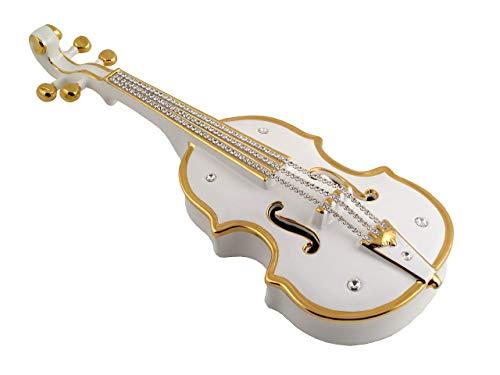 Deko-Violine aus weiß-goldener Keramik mit Kristallen Einrichtungsgegenstand
