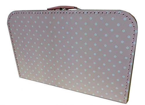 Koffer Pappe, rosa + weiße Punkte 40 cm Pappkoffer