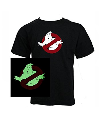 Kids Ghostbusters GLOW in the DARK Classic Movie T-shirt in five sizes from age 3 to 14