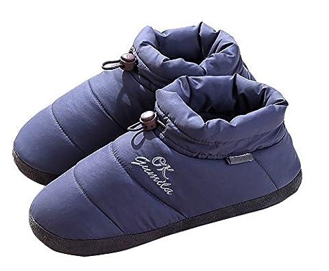 Unisexe Chaussons montants Happy Lily chaud Chaussures–Mousse à mémoire de forme Mules avec semelle extérieure en caoutchouc anti-dérapante Cordon élastique pour adulte, gris