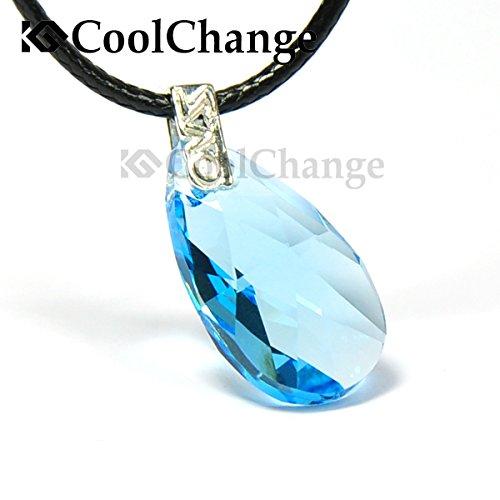 CoolChange Sword Art Online Halskette Yui Herz Anhänger aus echtem 925 Sterlingsilber und einem Kristallglas Stein