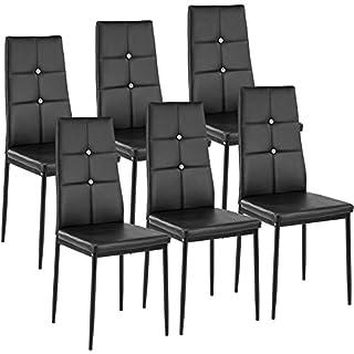 TecTake Lot de Chaise de Salle à Manger 40x42x97cm | - diverses Couleurs et modèles au Choix - (6X Noir | no. 402541)