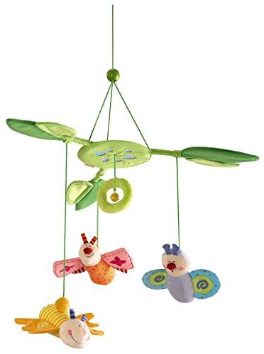 lütenfalter, Baby-Mobile zum Aufhängen mit 3 abnehmbaren Schmetterlingen, Blätterdach mit Glöckchen und Spiegelfolie, Baby-Spielzeug ab 6 Monaten ()