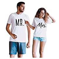 Women Valentine's Day T-shirt Tops, Couple Letter Printed Short Sleeve Pullover Tunic Tops