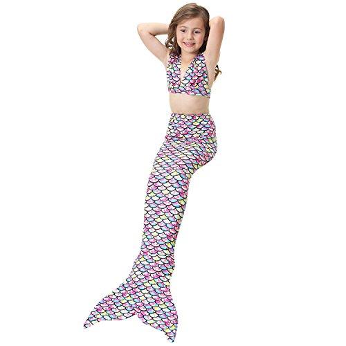 Lonchee niedlich Mädchen Meerjungfrau Schwimmanzug Badeanzüge Bikini Kostüm Badeanzug [ V Kragen Stil ] Kann Monofin treffen für Kinderschwimmen Schwimm (Kostüme Cat Meerjungfrau)