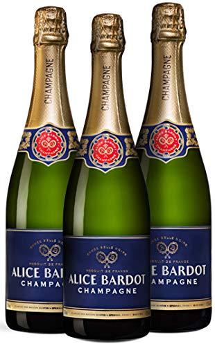 Wine A Porter Champagner-Set, 3 x 0,75l Champagnerflasche aus Frankreich, Alice Bardot Cuvée Belle Noire, tolles Geschenk für viele Anlässe, aus der Region Champagne Champagner-set