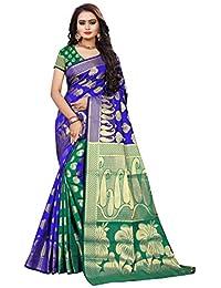 Indian Fashionista Women's Banarasi Silk Jacquard Saree With Blouse Piece