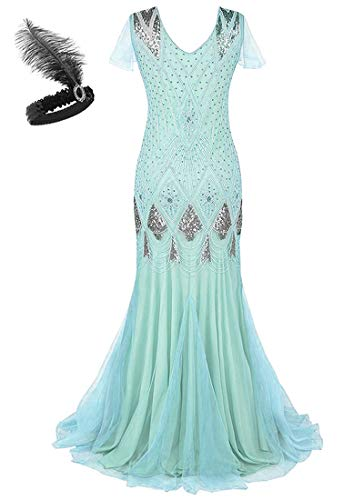 Generic Damen 1920er Jahre Gatsby Flapper Kleid Sequie Mermaid Hem Ball Abendparty Kostüm GA80 (XL, Lake Blue) Mermaid Ball
