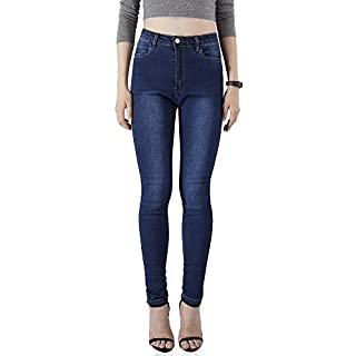 AUSERO Women's Jeans, Skinny, High Waisted Denim Jeggings (S: UK 10, Mid Blue)