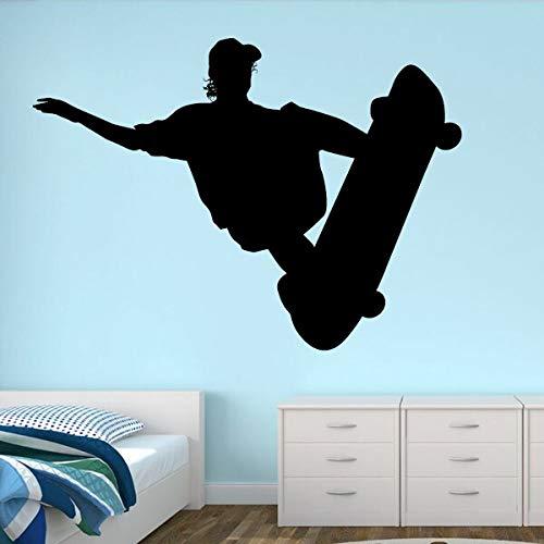 Tianpengyuanshuai Entworfener Skateboard Wandaufkleber jugendlich Raum herausnehmbarer Vinyl-Kunstaufkleber Schlafzimmerdekoration Sport wasserdicht60x44cm -