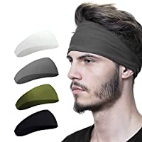 Mens Headband (4 Pack), Mens Sweatband & Sports Headband for Running, Crossfit, Cycling, Yoga, Basketball - Stretchy Moisture Wicking Unisex Hairband
