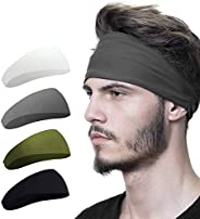 Mens Headband (4 Pack), Mens Sweatband & Sports Headband for Running, Crossfit, Cycling, Yoga, Basketball