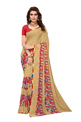 Indian Women's Georgette Sari with Blouse Piece Amazing CHIKU