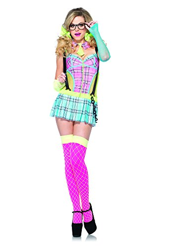 Leg Avenue 85251 - Day Glow School Girl Kostüm Set, 2-teilig, Größe L, Multicolor School Girl Leg